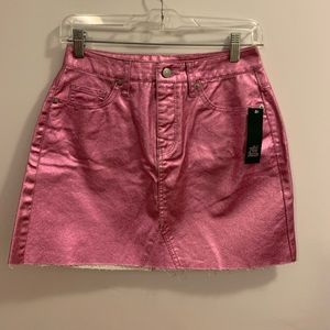 pink metallic skirt